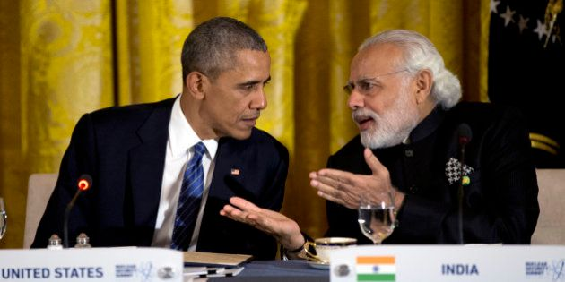 FILE - In this March 31, 2016, file photo, President Barack Obama talks with India's Prime Minister Narendra...