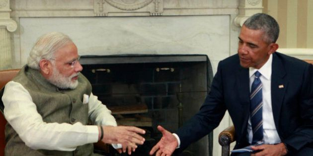 WASHINGTON, DC - JUNE 7: (AFP-OUT) President Barack Obama meets with Prime Minister Narendra Modi of...