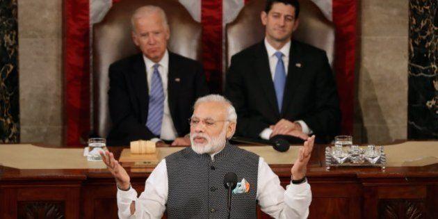 WASHINGTON, DC - JUNE 08: Indian Prime Minister Narendra Modi addresses a joint meeting of the U.S. Congress...