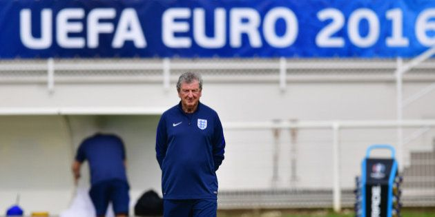 CHANTILLY, FRANCE - JUNE 10: Roy Hodgson manager of England looks on during an England training session...