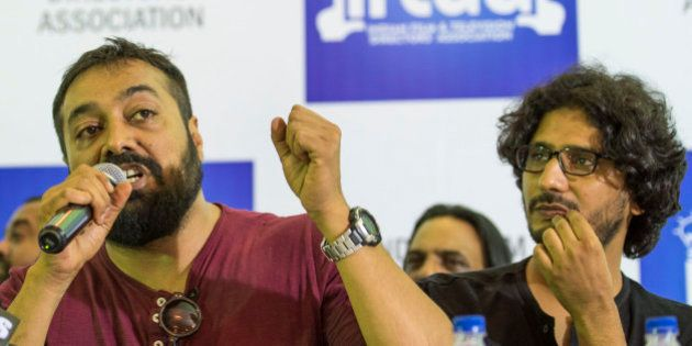 MUMBAI, INDIA - JUNE 8: (From left) Filmmaker Anurag Kashyap and director Abhishek Chaubey at a press conference organised by The Indian Film & Television Directors Association to express solidarity with the team of Udta Punjab on June 8, 2016 in Mumbai, India. Udta Punjab is slated for release on June 17. The Central Board Of Film Certification (CBFC) headed by Pahlaj Nihalani has now held back the films certification, demanding 89 cuts in total and removal of any references to the state of Punjab, politics or elections, in general. (Photo by Satish Bate/ Hindustan Times)