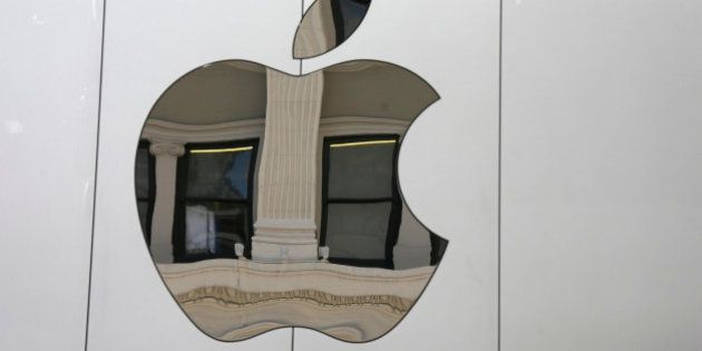The Apple logo is seen on the side of the new Apple Union Square store Thursday, May 19, 2016, in San...