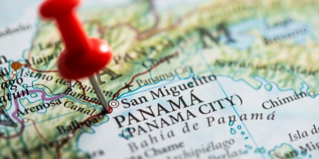 Close up shot of a map. San Miguelito, Panama pinned with a red pushpin. San Miguelito is a city and...