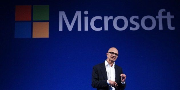 JAKARTA, INDONESIA - MAY 26: Chief Executive Officer of Microsoft Corp. Satya Nadella talks to audience...