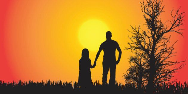 Vector silhouette of a family in the countryside at