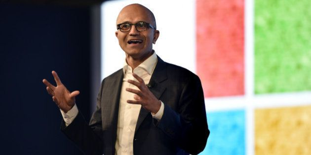 NEW DELHI, INDIA - MAY 30: Satya Nadella, CEO of Microsoft Corporation, during the Microsoft India event...