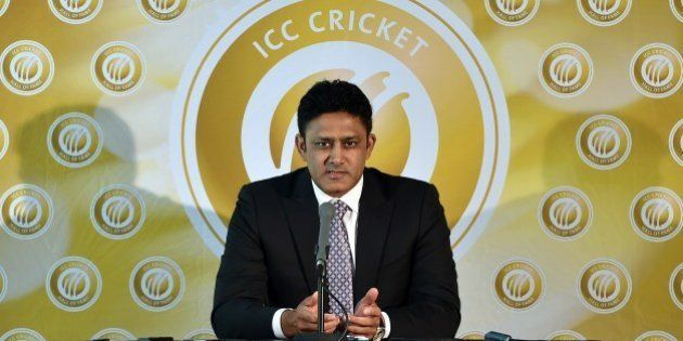 Former Indian captain Anil Kumble speaks to the media as he is inducted into the ICC Cricket Hall of...