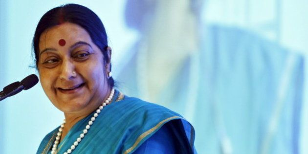 India's Foreign Minister Sushma Swaraj smiles while addressing the India Africa business forum in New...