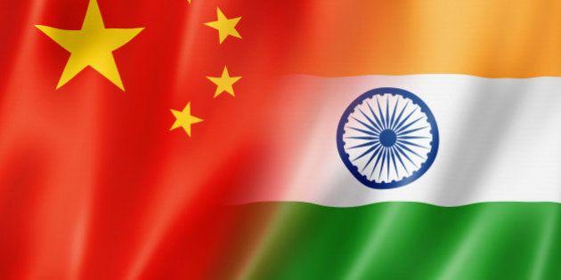 Mixed China and India flag, three dimensional render,