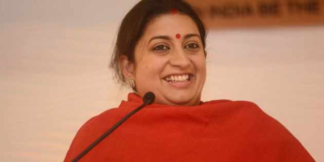 NEW DELHI, INDIA DECEMBER 4: Smriti Irani addressing at HT LEADERSHIP Summit 2015 on December 4, 2015...