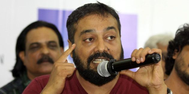 Indian Bollywood film director Anurag Kashyap addresses media representatives during a press conference...