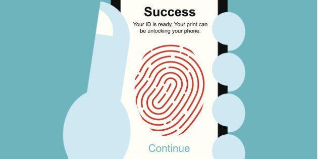 vector illustration Fingerprint unlock smart