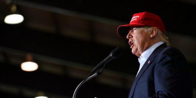 HARRINGTON, DE - APRIL 22: Republican presidential candidate Donald Trump addresses his supporters during...