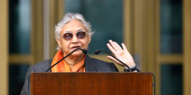 Delhi's Chief Minister Sheila Dixit speaks during the 50th anniversary celebrations of the United States...