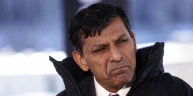 Raghuram Rajan, governor of the Reserve Bank of India (RBI), reacts during a Bloomberg Television interview...