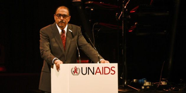 BASEL, SWITZERLAND - JUNE 13: UNAIDS Executive Director Michel Sidibe speaks on stage at the UNAIDS Gala...