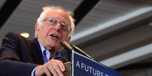 Democratic candidate Bernie Sanders speaks during a rally in Anaheim, California on May 24, 2016, ahead...