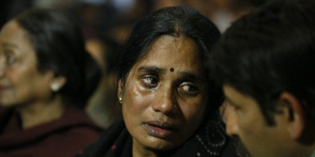 NEW DELHI, INDIA - DECEMBER 16: Mother of Nirbhaya gets emotional at a prayer meeting to remember Nirbhaya...