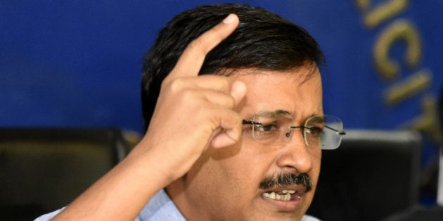 NEW DELHI, INDIA - JUNE 15: Delhi Chief Minister Arvind Kejriwal addressing a press conference on the...