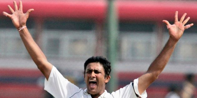 FILE- In this Aug. 1, 2008 file photo, former Indian cricketer Anil Kumble appeals for the dismissal...