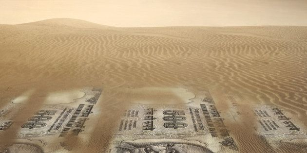 Illustration of Indian rupee notes in desert representing