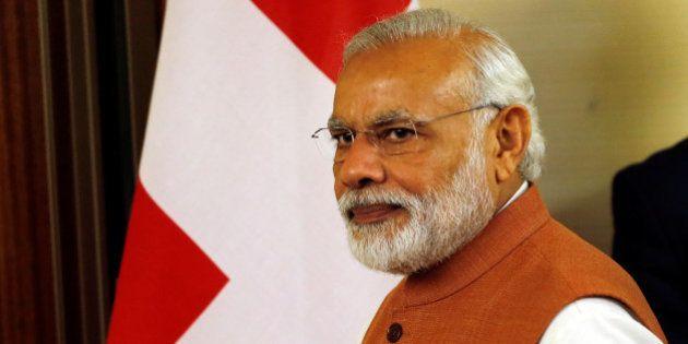 Indian Prime Minister Narendra Modi arrives for a meeting with Swiss President Johann Schneider-Ammann...