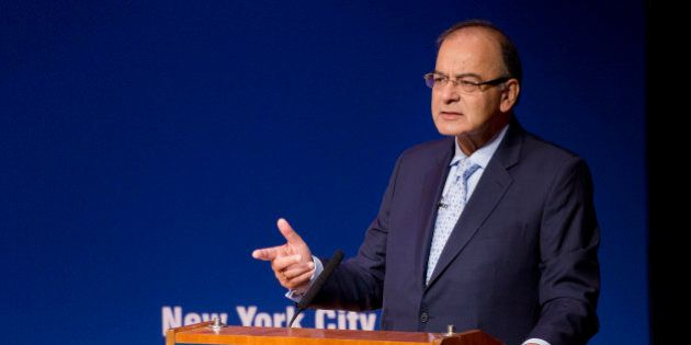 India's Minister of Finance Arun Jaitley speaks at the Asia Society, Monday, April 18, 2016, in New York....