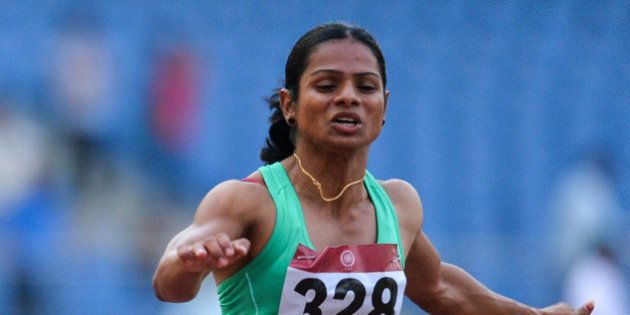 Dutee Chand of Odisha takes part in the 100 metre race during 20th Federation Cup National Senior Athletics...