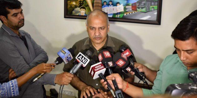 NEW DELHI, INDIA - JUNE 25: Delhi Deputy CM Manish Sisodia addressing the media after the Police arrested...