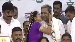 WATCH: Woman Kisses Karnataka Chief Minister Siddaramaiah At Public