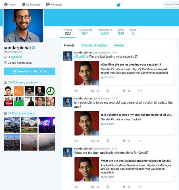 After Zuckerberg, OurMine Hacks Sundar Pichai's Quora
