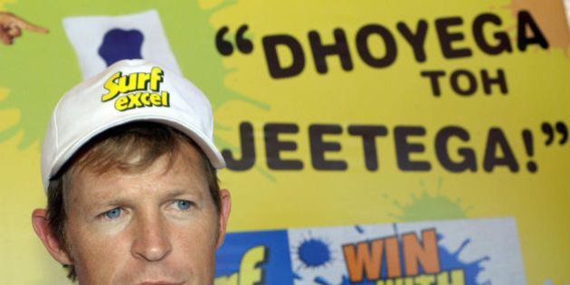 BANGALORE, INDIA: Former South African cricketer Johnty Rhodes speaks to mediapersons after washing a...