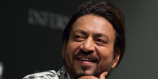 SINGAPORE - JUNE 13: Actor Irrfan Khan speaks during the 'Inferno' press conference held at ArtScience...