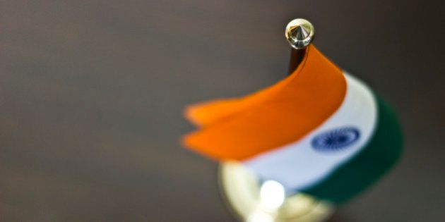 Table flag of India kept on
