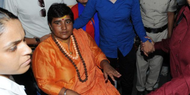 BHOPAL, INDIA - MAY 18: Hindu activist Sadhvi Pragya Singh Thakur leaving for Simhastha in Ujjain under...