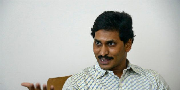 Jagan Mohan Reddy, the leader of YSR Congress party speaks during an interview with Reuters at his residence...