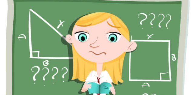 cartoon schoolgirl confused about math problem standing in front of