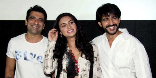 Indian Bollywood actors Ejaz Khan, (L), Suha Gezen (C) and Hiten Tejwani attend the press conference...