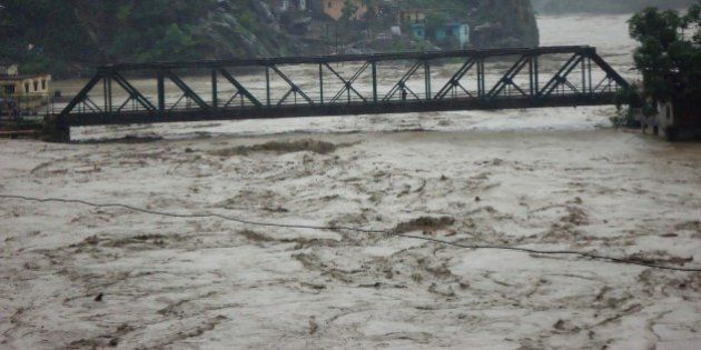 RUDRAPRAYAG, INDIA - JUNE 17: Several houses on the banks of Alaknanda River have fallen prey to the...