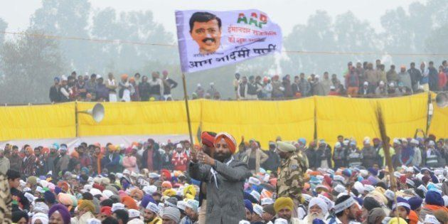 BATHINDA, INDIA - JANUARY 14: Aam Aadmi Party supporters during a public rally of Delhi Chief Minister...