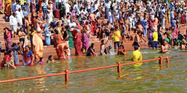Simhasth Kumbh Mela Mahaparv is rejoiced by holy dip in the Holy river 'Kshipra' in ancient and religious...