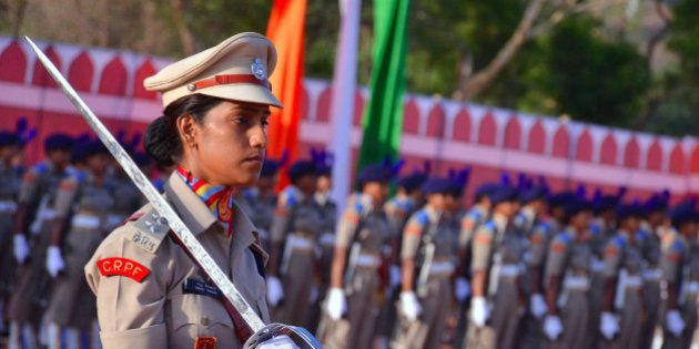 RAJASTHAN, INDIA - 2016/05/05: Central Police Force India's first female battalion oath taking ceremony,wherein...