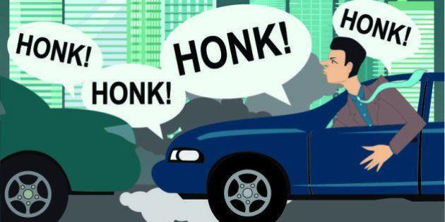 Upset motorist stuck in a traffic, city scene, vector
