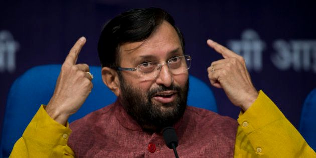 Indian Environment Minister, Prakash Javadekar, addresses journalists at a press conference to elaborate...