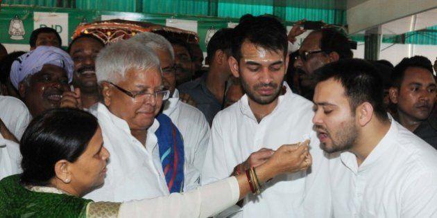 PATNA, INDIA - JUNE 11: RJD Chief Lalu Prasad Yadav Lalu Yadav celebrated his 69th birthday with his...