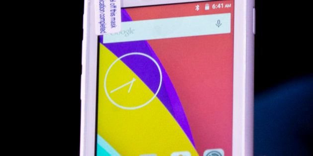 A Freedom 251 smartphone, which is to be priced at Indian Rupees 251 or USD 3.6 approximately, is shown...