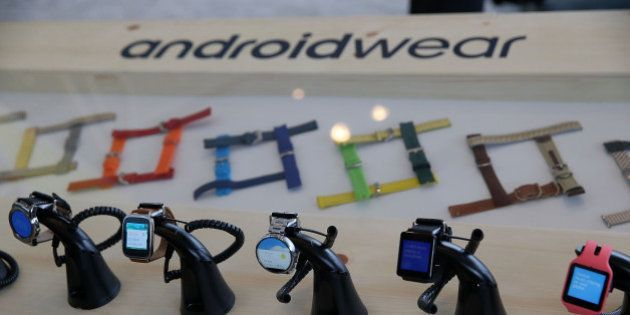 SAN FRANCISCO, CA - MAY 28: Google Android Wear smart watches are displayed during the 2015 Google I/O...