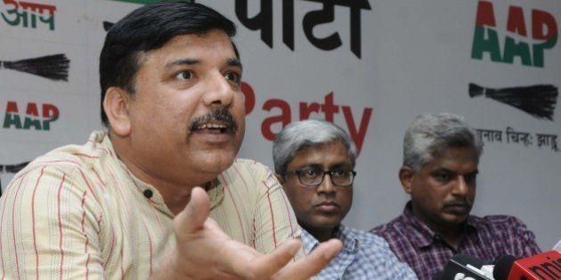 NEW DELHI, INDIA - APRIL 21: Aam Adami Party leaders Sanjay Singh, Ashutosh, Pankaj Gupta and others...