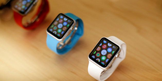 Apple Watches are displayed at an Apple store on Chicago's Magnificent Mile Friday, Sept. 25, 2015, in...