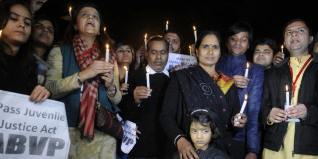 NEW DELHI, INDIA - DECEMBER 21: Parents of Nirbhaya alongwith activists during a protest against the...